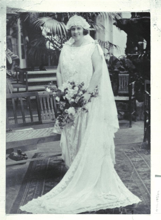 In 1924, Gladys Moncrieff posed for Monte Luke on her wedding day
