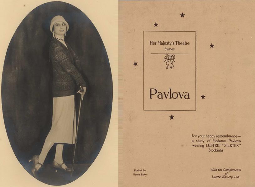 In 1926 Madame Pavlova is wearing Lustre 'Silktex' stockings